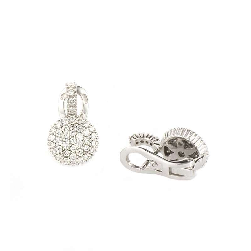 18k White Gold Pave Diamond Earrings 1.09ct G/VS